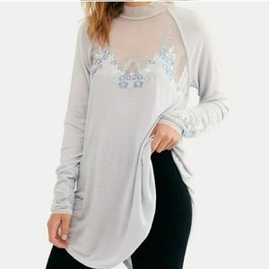 NWT Free People Saheli Embroidered Mesh Blouse Top